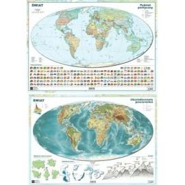 Mapa świata A2 Dwustronna laminowana ART-MAP