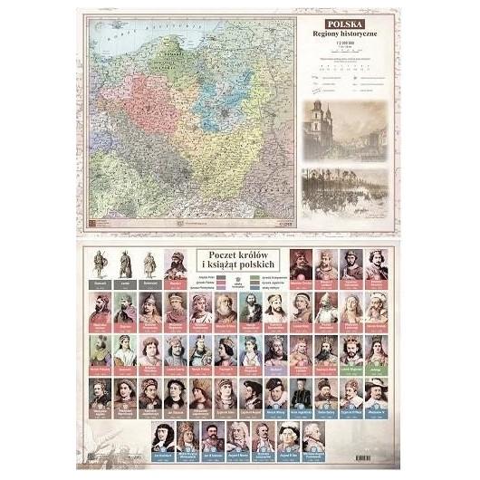 Mapa Polski A2 Regiony Historyczne ścienna ART-MAP