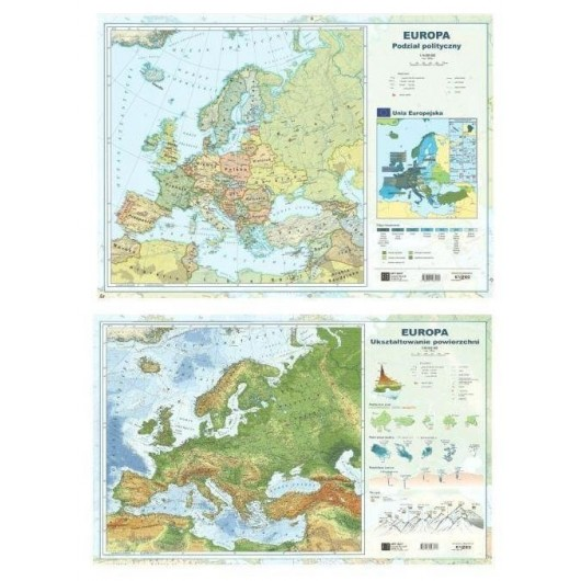 Mapa Europy A2 Dwustronna ścienna ART-MAP