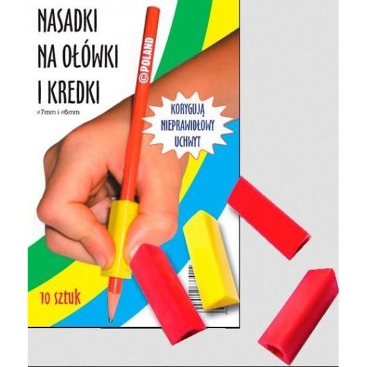 Trójkątne nasadki na ołówki i kredki (10 szt.)