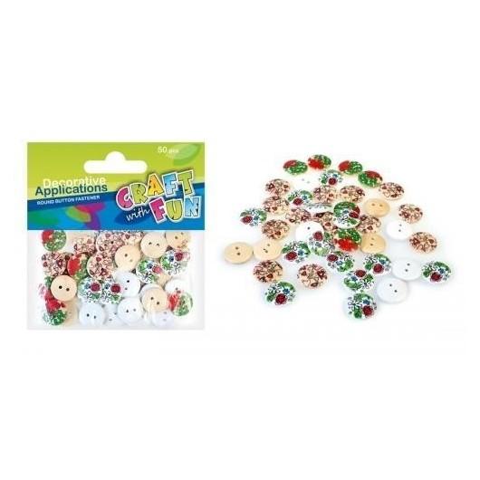 Ozdoba dekoracyjna guziki kolorowe 50szt