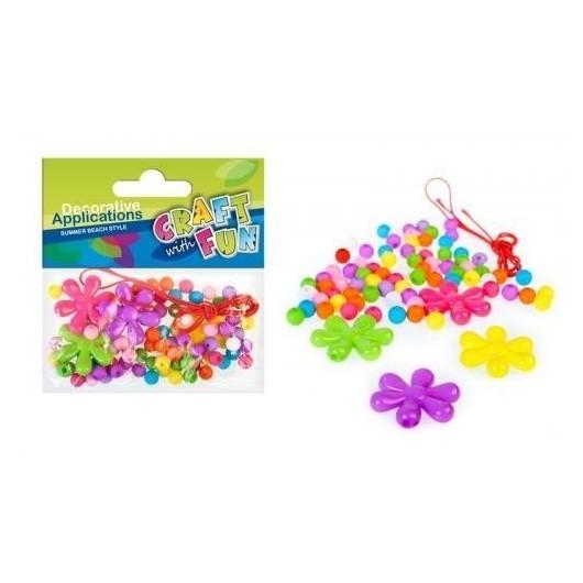 Ozdoba dekoracyjna koraliki plastikowe kwiaty