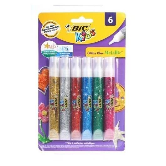 Klej brokatowy Glitter mix kolorów 6 kolorów BIC