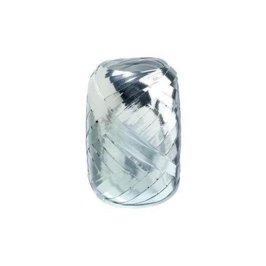 Wstążka kłębuszek 20m metallic srebrna