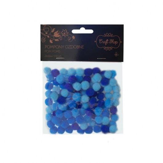 Pompony ozdobne 100/10mm niebieskie CRAFT SHOP