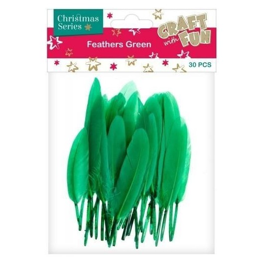 Ozdoba dekoracyjna piórka zielone 30el