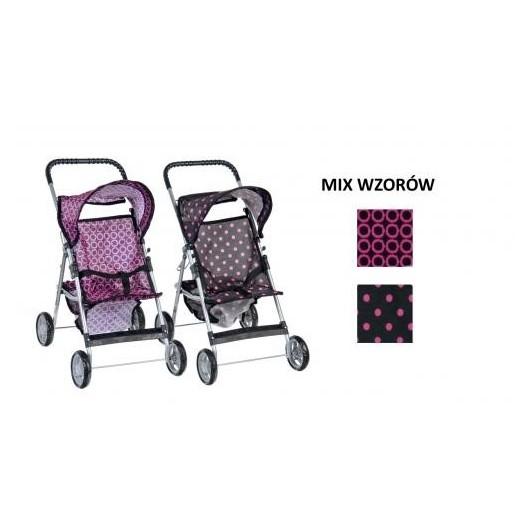 Wózek dla lalek czarno-różowy