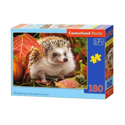 Puzzle 180 Hedgehog in Autumn Leaves CASTOR