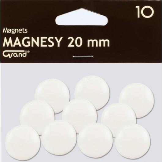 Magnes 20mm biały 10szt GRAND