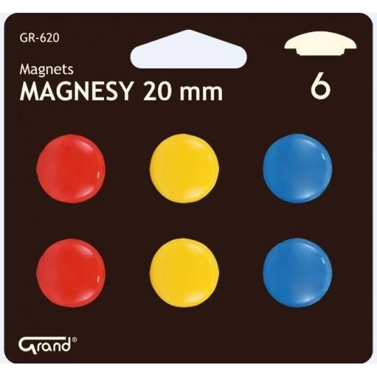 Magnesy 20mm 6 sztuk blister GRAND