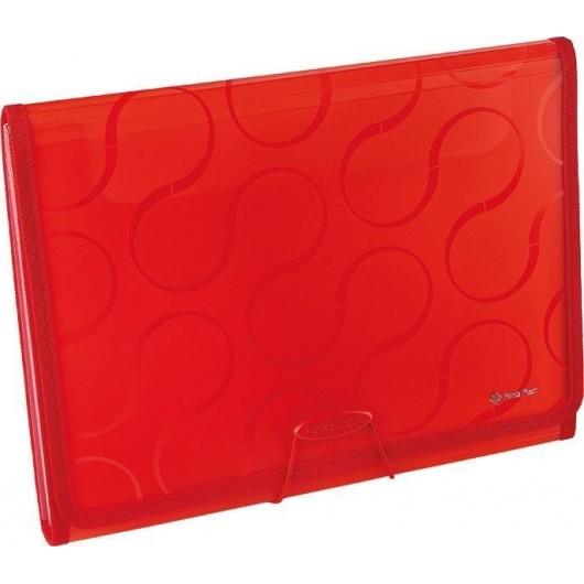 Folder A4 z 6 przegrodami Focus Omega czerwony