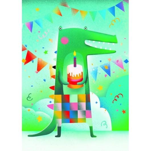 Karnet B6 Urodziny Krokodyl
