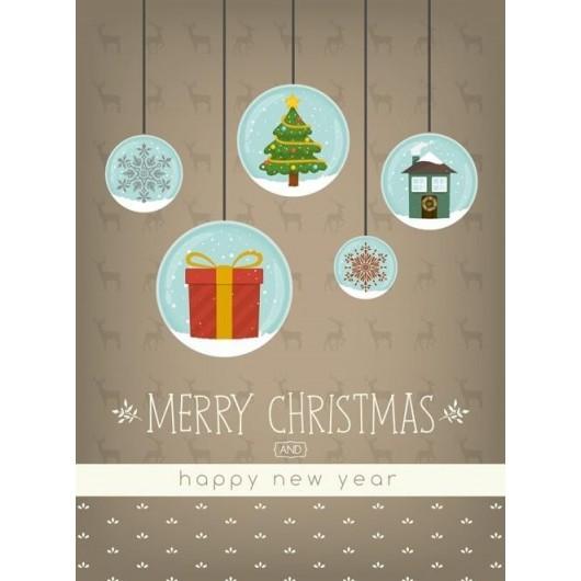 Karnet B6 Boże Narodzenie - Bombki (10szt)