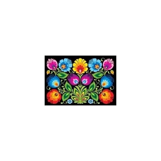 Pocztówka - Nr.6 Kodra z kwiatami czarna FOLKSTAR