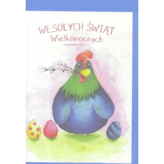 Karnet B6 Wielkanoc Kura. Wesolych Świąt