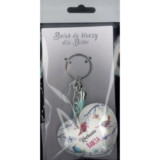 Brelok do kluczy - Kochana Babcia (białe serce)