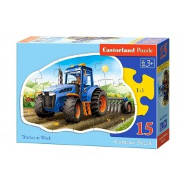 Puzzle 15 konturowe Tractor at work CASTOR