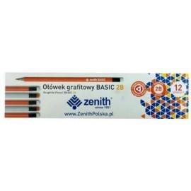 Ołówek Basic trójkątny z gumką 2B (12szt) ZENITH