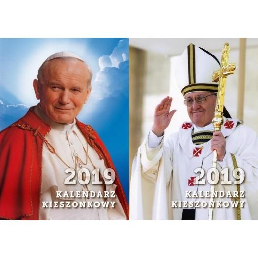 Kalendarz 2019 kieszonkowy Jan Paweł II/Franciszek