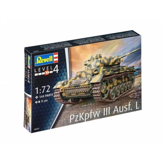 REVELL 1:72 PzKpfw III Ausf.L - niemiecki czołg średni z czasów II wojny światowej (03251)