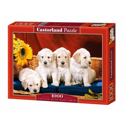 Puzzle 1000 Puppies With Sunflower CASTOR