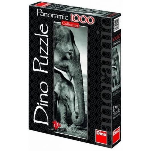 Puzzle 1000 Panorama Słonie DINO