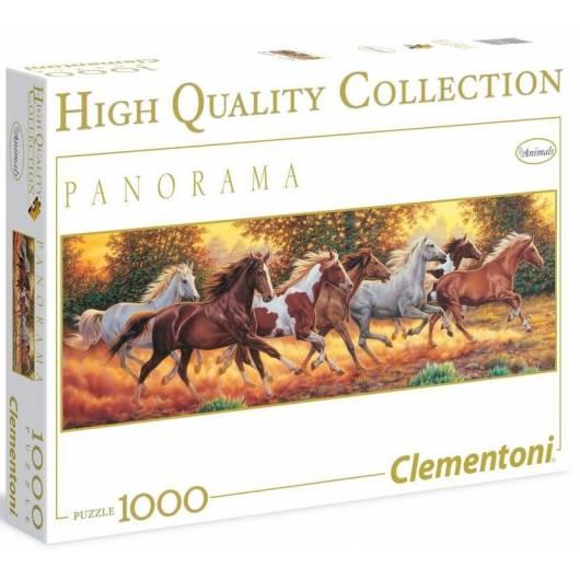 Puzzle 1000 HQ Panorama Biegnące konie