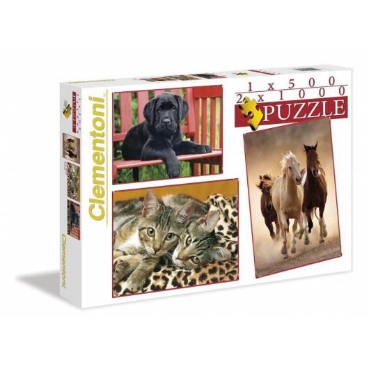 Puzzle 1x500+2x1000 Zwierzęta