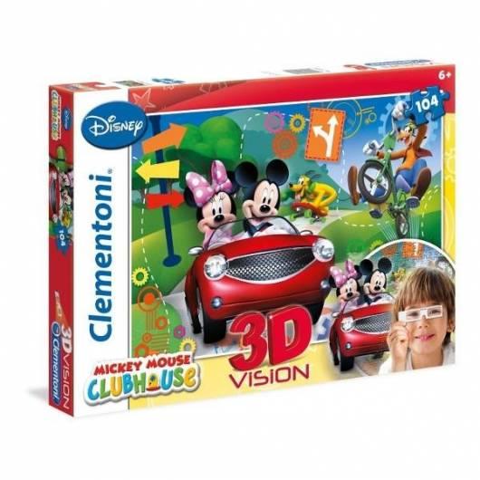 Puzzle 104 3D Vision Klub Przyjaciół Myszki Mickey