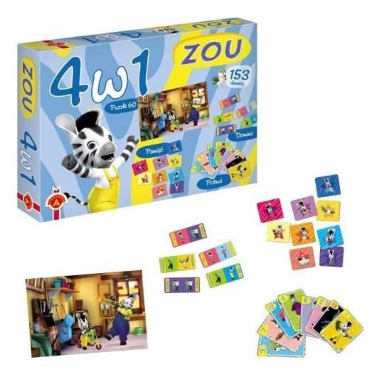 Zou. 4 w 1 Gry i Puzzle ALEX