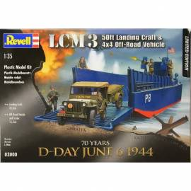 REVELL 1:35 D-Day Set LCM3 50ft Landing Craft & Jeep with Trailer (03000)