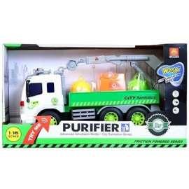 Auto ciężarowe śmieciarka z pojemnikami