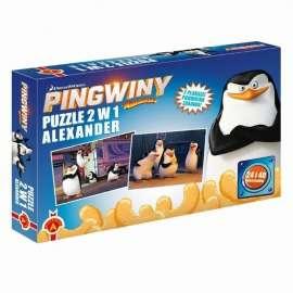 Puzzle 2 w 1. Pingwiny z Madagaskaru. ALEX