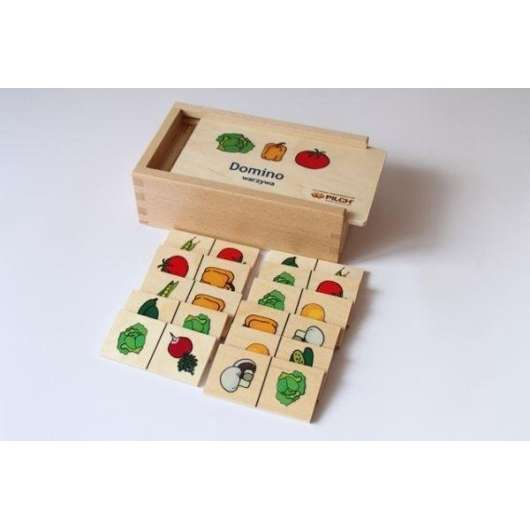 Domino warzywa w skrzynce drewnianej