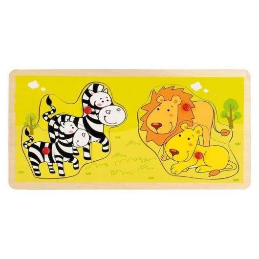 Drewniana układanka z pinezkami Zebry i lwy