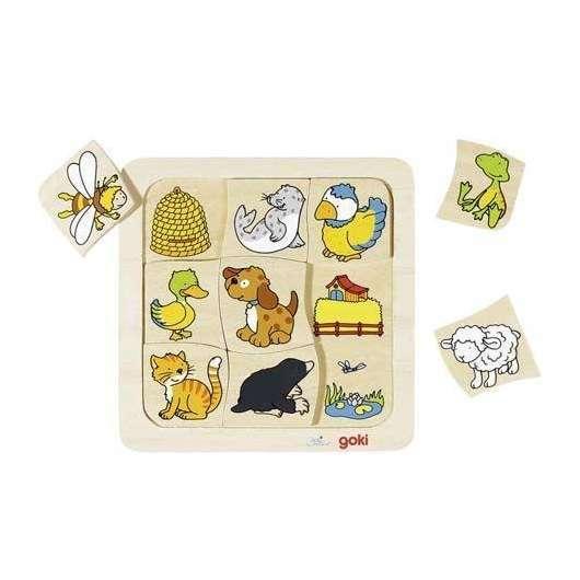 Drewniane puzzle 2 Gdzie mieszkają zwierzątka?