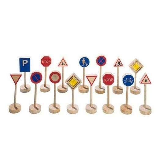 Drewniane znaki drogowe zestaw do zabawy