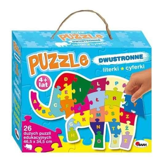 Puzzle dwustronne 26 Literki, cyferki. Słoń