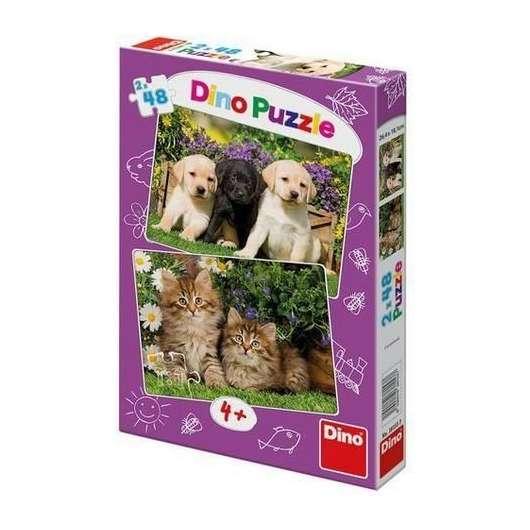Puzzle 2x48 Zwierzaki DINO